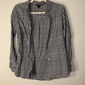 H&M Black and White Checked Flannel